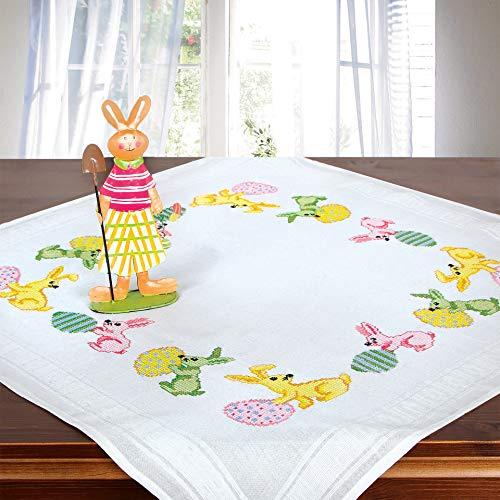 Stickpackung OSTERHASEN, Kreuzstich Tischdecken Set vorgezeichnet zum Sticken, Stickset zum Selbersticken zu Ostern