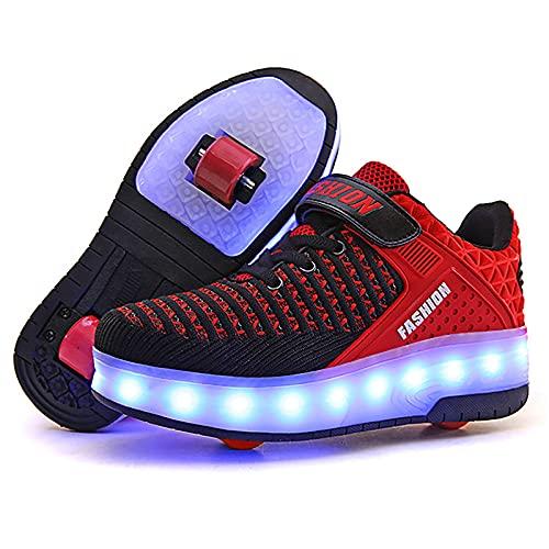 AMXSML Niños llevó los zapatos del rodillo del muchacho de la muchacha del patín entrenadores para las ruedas de los zapatos del monopatín técnico se convierten en el deporte de la zapatilla del