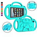 LTROP Kids Case for Amazon Fire 7 2019/2017 - Light Weight Shockproof Handle Friendly Kids Case with Built-in Kickstand & Shoulder Strap for All-New Kindle Fire 7 9th/7th Generation Tablet - Turquoise