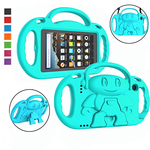 LTROP Kids Case for Fire 7 2019/2017 - Light Weight Shockproof Handle Friendly Kids Case with Kickstand & Shoulder Strap for All-New Kindle Fire 7 9th/7th Generation Tablet - Teal