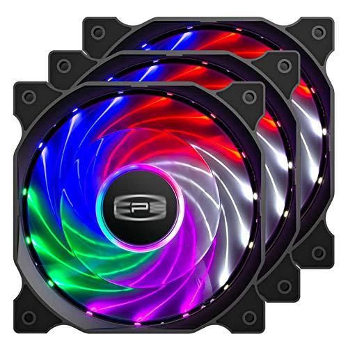 CP3 Computerlüfter, 120 mm, 3-polig, feste Farbe, geräuscharm, LED-Gehäuselüfter, Hochleistungs-PC-Ventilatoren mit Hydrauliklager, für Gaming-PC-Gehäuse (3 Stück)