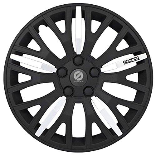 ASD TECH SP 1351L Pack de 4 Enjoliveurs Design Sparco Leggera 13'' Noir/Argent