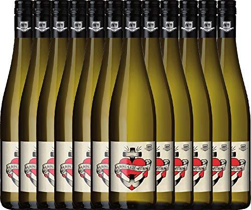VINELLO 12er Weinpaket Weißwein - Glaube-Liebe-Hoffnung Riesling 2020 - Bergdolt-Reif & Nett mit Weinausgießer | trockener Weißwein | deutscher Sommerwein aus der Pfalz | 12 x 0,75 Liter