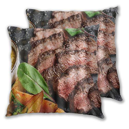 CONICIXI Saftiges Rumpsteak von Marble Beef Medium Rare mit Kartoffeln und Sauce auf Steinplatte Close Up Graphic Mikrofaser Kissenbezug, 3D-Muster Mehrfarbig optional, Zwei Packungen, ohne Kissen