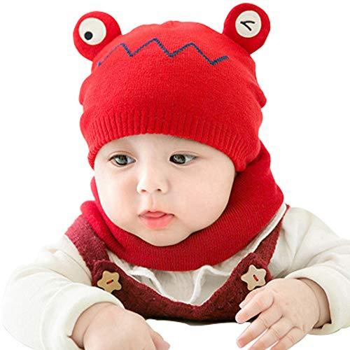 cjixnji Invierno Bebé Gorros con Bufanda de Punto, Conjunto de Bufanda de Gorro de Punto para Bebé Lindo y Suave de Gorro con Gorro con Bufanda Niño Pequeño 3-24 Meses (Rojo)