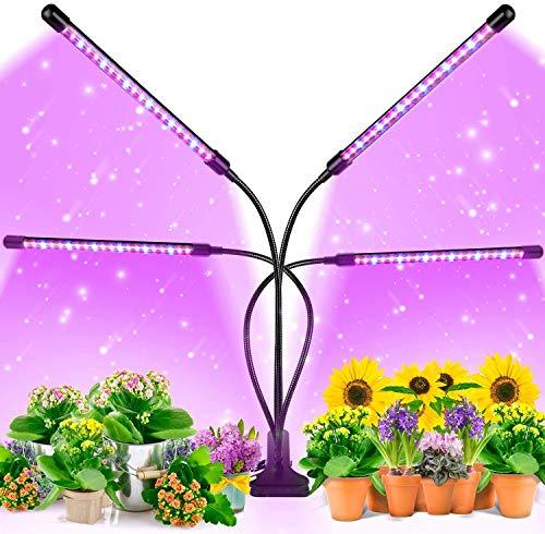 GAOAG Lámpara de Plantas,80 LED desarrollan un Espectro Completo de luz con Temporizador de Encendido y Apagado automático 3/9 / 12H, Rojo y Azul, USB + Adaptador de Corriente (Red)