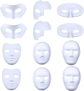 12PCS Halloween Mask Creative DIY Painting White Paper Mask Masquerade Mask