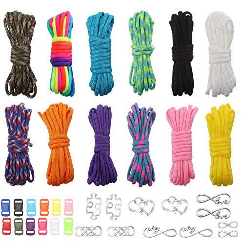 upain 12 Stück Paracord Schnur 550 Paracord Seile Schnüre DIY Armband Bänder Set mit 12 Quick Release Schnallen 12 Anhänger für Armbänder Schlüsselanhänger Hundehalsband Leine Outdoor-Aktivitäten