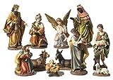 Idée pour Noël. Crèche de Noël composée de 11 santons en résine décorée pour crèche Cm. 19,5