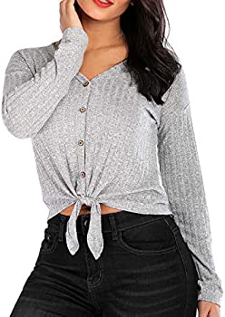 Casual Tie Knot Henley Cute Plain V Neck Button Womens T-Shirts
