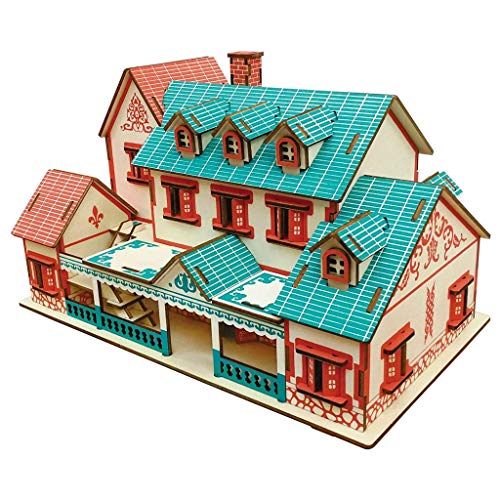 MKJHEDLSC Handmade Puzzles, Natural Wood House Collection of Small Three-dimensional Puzzle Wooden Puzzles in the Building Process