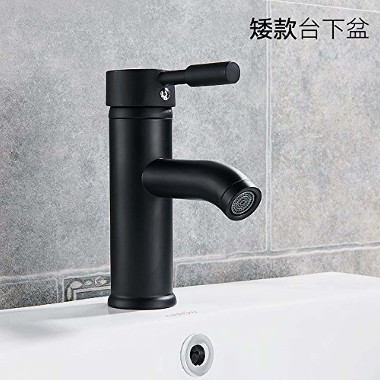 ETERNAL QUALITY Badezimmer Waschbecken Wasserhahn Messing Hahn Waschraum Mischer Mischbatterie Waschbecken kaltes Wasser Waschbecken schwarz Edelstahl Einloch Mischbatter