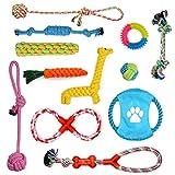 PETLOFT Juego de Juguetes de Cuerda para Perros (Paquete de 12), Surtido Juguete de Cuerda para Masticar Rope Ball Interactivos para Cachorros de Dentición Perros Pequeños Medianos Entrenamiento