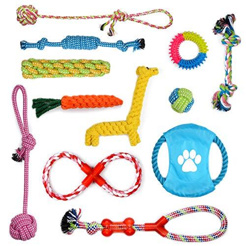 PETLOFT Hundespielzeug Set (12 Stück), Sortierte Hunde Kauen Spielzeug Bündelseil und Hund Tau Spieltau mit Knoten Seil Ball Interaktive Spielzeuge für Zahnende Welpen Klein Mittel Hunde Hundetraining