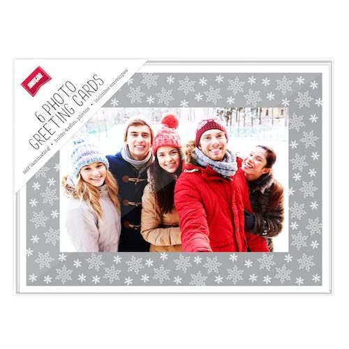 6 Pack Make your own Photo Christmas Cards Silver