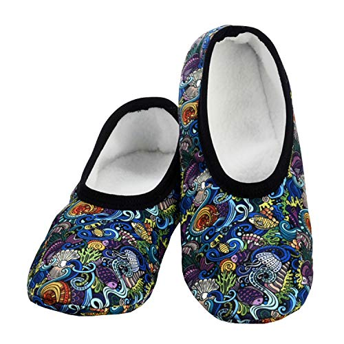 Snoozies Skinnies Lightweight Slippers | Cozy Slippers for Women | Travel Flats On The Go | Womens Slippers | Under The Sea | Large