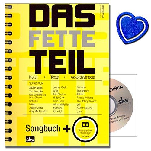 Das fette Teil - Songbuch mit großer Songauswahl (192 ! ) , Gitarreneinsteigerschule ohne Noten auf CD von Sven Kessler mit bunter herzförmiger Notenklammer