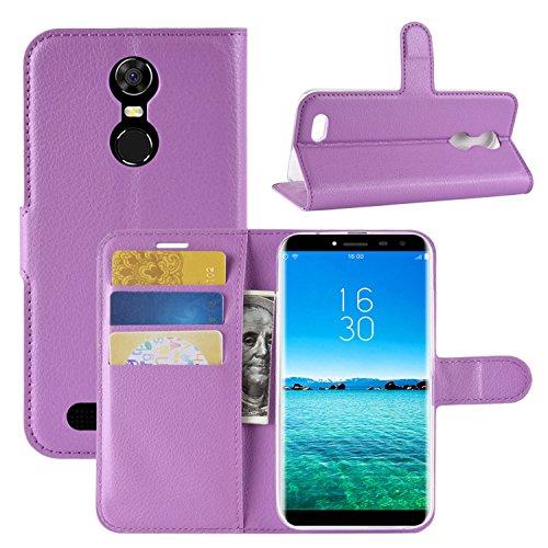 HualuBro Oukitel C8 Hülle, Premium PU Leder Leather Wallet HandyHülle Tasche Schutzhülle Flip Hülle Cover mit Karten Slot für Oukitel C8 Smartphone (Violett)