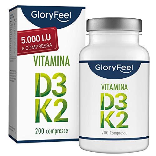 GloryFeel® Vitamina D3 + K2 Scorta da 200 Compresse - 5.000 I.E. di Vitamina D3 e 200 µg di Vitamina K per Compressa - Vitamina K2 da Menachinone MK-7 99% All-Trans - Testato e Prodotto in Germania