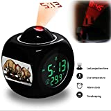 Projection Alarm Clock Wake Up Bedroom with Data and Temperature Display Talking Function, LED Wall / Ceiling Projection, Dinosaur-048.145_Centrosaurus dinosaur