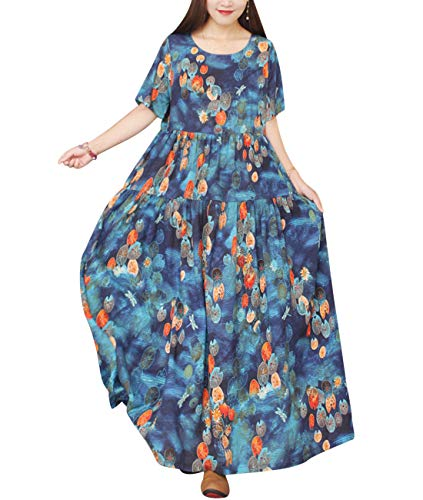 YESNO Women Casual Loose Bohemian Short Sleeve Floral Dress Long Maxi Summer Beach Swing Dress with Pockets EJF