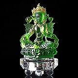 DHTOMC Estatua de Buda Tara de Vidrio Verde,Bodhisattva Tántrico Guanyin,Accesorios de Decoración del Hogar de Lujo,12.6cm*7cm*4.5cm