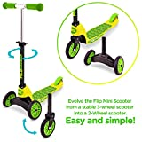 Convertible: the fizz flip mini scooter perfect for children. Brings a spare wheel that allows to convert the Micro scooter into a two-wheeled scooter for kids to get more confidence. Special black Friday offer High quality: micro kickboard supports ...