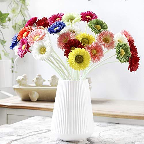 XIAOHONG - Ramo de flores artificiales de margarita artificial realista para vacaciones de novia, ramo de boda, hogar, fiesta, dama de honor, 12 unidades