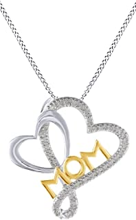 Mothers Day Jewelry Gifts Mother & Child Double Heart Natural Diamond Accent Mom Pendant Necklace in 14k Gold Over Sterling Silver