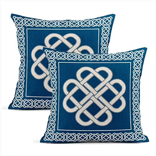 Eaiizer Set of 2 Throw Pillow Covers Celtic Love Knotsymbol Good Fortune Two Home Durable Soft Decor Linen Pillowcases Square Cushion Couch Sofa 18x18 Inches