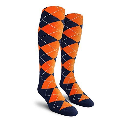 Argyle Golf Socks: Over-the-Calf - Navy/Orange - Youth