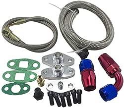 PQYRACING Oil Feed Line Drain Fitting Flange Kit for Toyota Supra 1JZGTE 2JZGTE 1JZ/2JZ Single Turbo