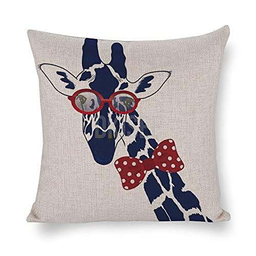 DKISEE Fundas de almohada decorativas de lino de algodón, fundas de almohada divertidas jirafa con gafas de sol hipster y pajarita, cojín decorativo para interiores de 45,7 x 45,7 cm