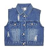 Bebé Niños Chaqueta de Mezclilla Chaleco Niñas Abrigo Sin Mangas Vaqueros Chaqueta Jeans Chaleco Azul Primavera Otoño Ropa de Calle 9-12 Meses