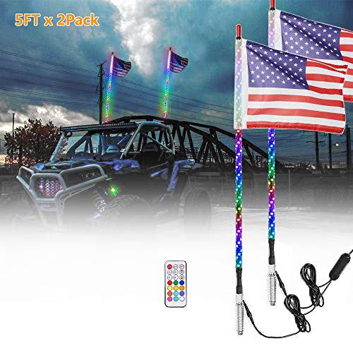 Beatto 2PCS 5FT(1.5M) RF Remote Controll RGB LED Whips Light With Dacning/Chasing Light LED Antenna Light For Off- Road Vehicle ATV UTV RZR Jeep Trucks Dunes