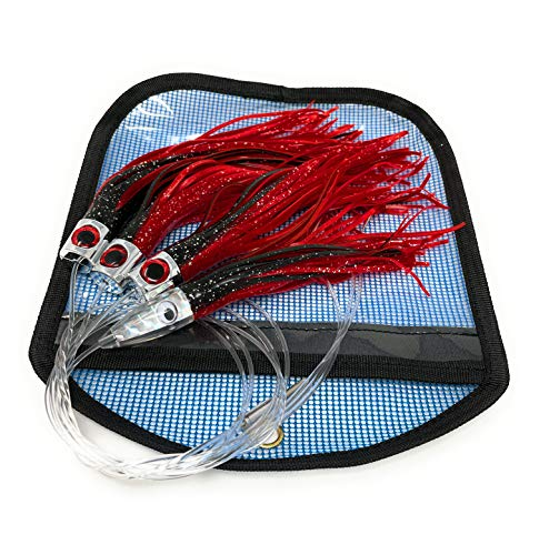 Capt Jay Fishing Daisy Chain Fishing Lure Teaser for Trolling for Mahi, Tuna, Wahoo, with Rigged Hook 7/0 (Red/Black, 6.5 inch)