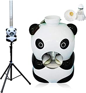 MTPLUM Portable Badminton Serve Machine Automatic Panda Design Badminton Ball Machine for Indoor Outdoor Game Training