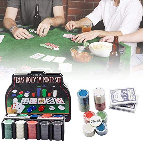 LGFB Blackjack-Sets 200 Stück Chips Kartenspiel Poker für Familie Freunde Sponsored Glücksspiel-Unterhaltung mit Blechdose und Tischdecke