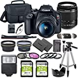 Canon EOS Rebel T7 DSLR Camera Bundle with Canon EF-S 18-55mm f/3.5-5.6 III Lens + 2pc Kingston 32GB Memory Cards + Accessory Kit