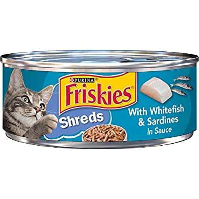 Purina Friskies Wet Cat Food, Shreds With Whitefish & Sardines in Sauce - 5.5 oz. Cans (Pack of 24)