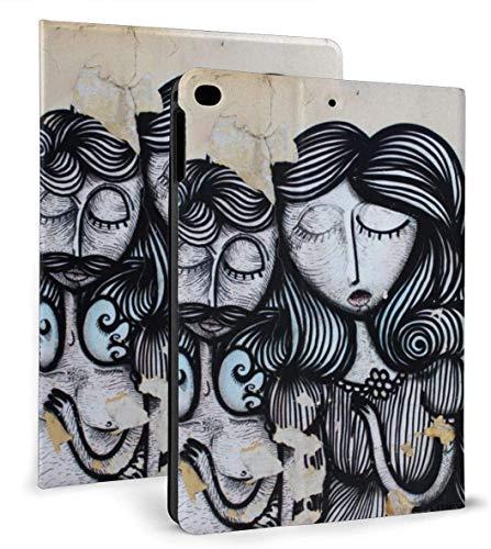 Graffiti Hair Woman Man PU Funda de Cuero Inteligente Función Auto Sleep / Wake para iPad Air 1/2 9.7 'Funda