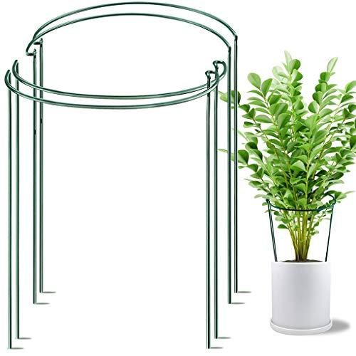 fasloyu Pflanzenhalter, 4 Stück, Metall Pflanzenstütze, halbrunde Rankhilfe für Pflanzen, Garten, wetterfester Blumenhalter, Staudenhalter, Blumenstütze, Gartenstützring, freistehend