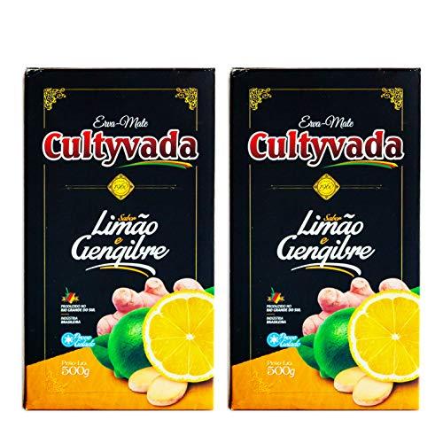 Circle of Drink - Cultyvada Lemon Ginger (Limão Gengibre) Chimarrao Erva Mate - Gourmet - Non-Aged - Super Fresh Green Brazilian Yerba Mate - Vacuum Sealed - 1.1 LB - 500g (2 PACKS)