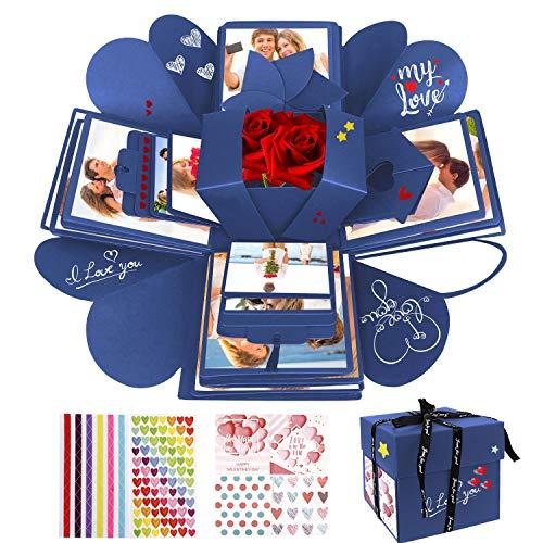 WisFox Überraschung Box, Kreative DIY Handgemachte Überraschung Explosion Geschenkbox Liebesgedächtnis, Scrapbooking Fotoalbum Geschenkbox zum Geburtstag Valentinstag Hochzeit Weihnachtsfest (Blau)