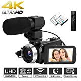 Upgrade 4K Camcorder Ultra HD Video Camera with External Microphone 48MP WiFi Digital Camera with Remote Control YouTube Camera 18X Digital Zoom Recorder with IR Night Vision, 2 Batteries