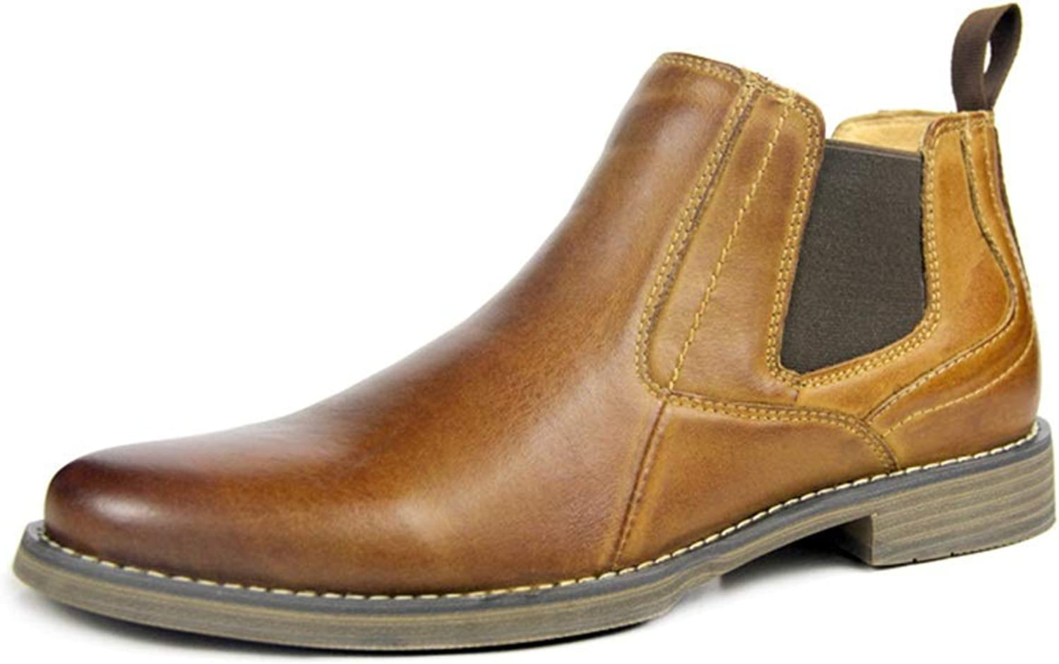 Qiusa Genuine Leather Chelsea Boots for Men Soft Sole Non Slip Durable Comfort Boots (color   Brown, Size   UK 5.5)
