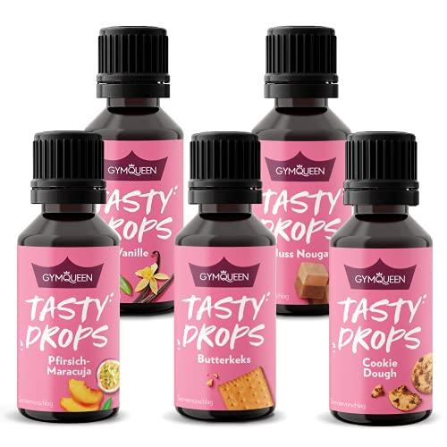 GymQueen Tasty Drops 5x30ml, Kalorienfreie, Zuckerfreie und Fettfreie Flavour Drops, Aroma Tropfen zum Süßen von Lebensmitteln, Geschmackstropfen ohne Künstliche Farbstoffe,...