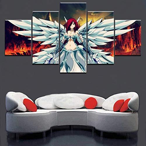 SFXYJ 5 Piezas Erza Scarlet Animación Fairy Tail Poster Wall Art Imagen Modular Impresión en Lienzo Pintura Decoración del Hogar,A,20×35×2+20×45x2+20x55×1