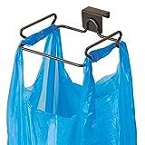 mDesign Soporte para bolsa de basura – Práctico soporte para basura y bolsas – en acero con...