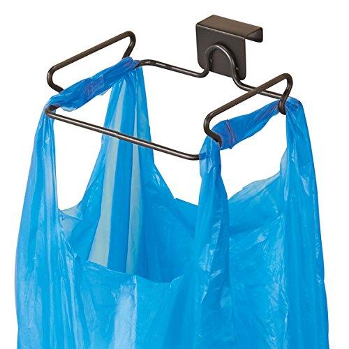 mDesign Soporte para bolsa de basura – Práctico soporte para basura y bolsas – en acero con acabado en bronce – fácil instalación de la bolsa de basura